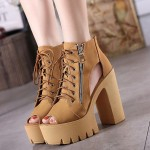 Brown Camel Yellow Peep Toe Punk Rock Lace Up Platforms High Heels Zippers Boots Sandals Shoes