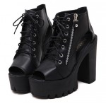 Black Peep Toe Punk Rock Lace Up Platforms High Heels Zippers Boots Sandals Shoes