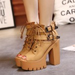 Brown Camel Yellow Peep Toe Metal Buckles Punk Rock Platforms High Heels Straps Boots Shoes
