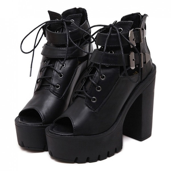 Black Peep Toe Metal Buckles Punk Rock Platforms High Heels Straps Boots Shoes