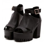 Black Peep Toe Metal Buckles Punk Rock Platforms High Heels Straps Sandals Shoes
