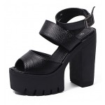 Black Peep Toe Punk Rock Platforms High Heels Ankle Straps Sandals Shoes