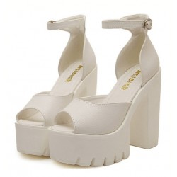 White Peep Toe Punk Rock Platforms High Heels Straps Sandals Shoes