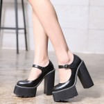 Black Mary Jane Round Head Punk Rock Platforms High Heels Shoes