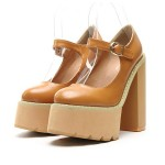 Brown Yellow Camel Mary Jane Round Head Punk Rock Platforms High Heels Shoes