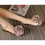 Giant Satin Rose Flower Jelly Ballets Ballerina Sandals Flats Shoes