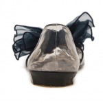 Blue Giant Organza Bow Flower Jelly Ballets Ballerina Sandals Flats Shoes