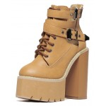 Brown Camel Khaki Punk Rock Straps Chunky Sole Block High Heels Platforms Boots Shoes
