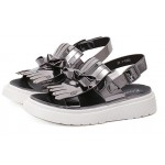 Silver Mirror Leather Tassels White Thick Platforms Sole Sandals Shoes