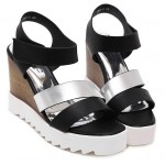 Black Silver Straps Wedges Platforms Sandals Shoes