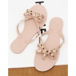 Black Pink Square Studs Punk Rock Jelly Flip Flop Sandals Flats Shoes