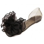 Black Giant Organza Bow Flower Jelly Ballets Ballerina Sandals Flats Shoes