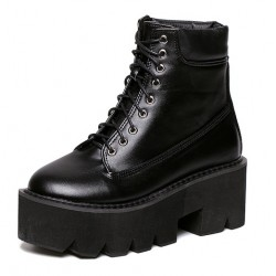 Black Lace Up Chunky Sole Block Platforms Boots Shoes
