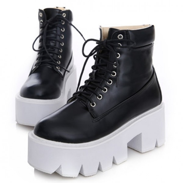 Black Lace Up Chunky White Sole Block Platforms Boots Shoes