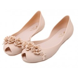 Black Pink Peep Toe Flower Jelly Ballets Ballerina Sandals Flats Shoes
