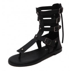 Black Straps Roman Gladiator High Top Sandals Flats Shoes