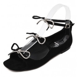 Black Suede Triple Bows Ballerina Ballets Sandals Flats Shoes