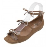 Brown Khaki Suede Triple Bows Ballerina Ballets Sandals Flats Shoes