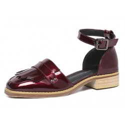 Burgundy Patent Fringes Point Head Mary Jane Sandals Flats Shoes