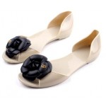 Cream Black Red Camellia Flower Jelly Ballets Ballerina Sandals Flats Shoes