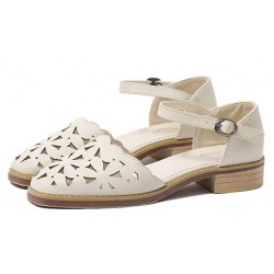 Cream Hollow Out Point Head Mary Jane Sandals Flats Shoes