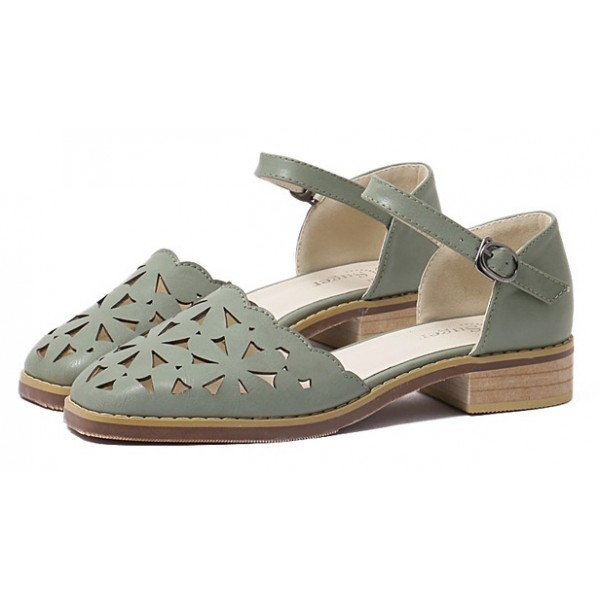 Green Hollow Out Point Head Mary Jane Sandals Flats Shoes
