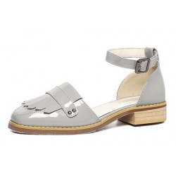 Grey Patent Fringes Point Head Mary Jane Sandals Flats Shoes