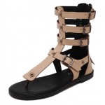 Khaki Brown Straps Roman Gladiator High Top Sandals Flats Shoes