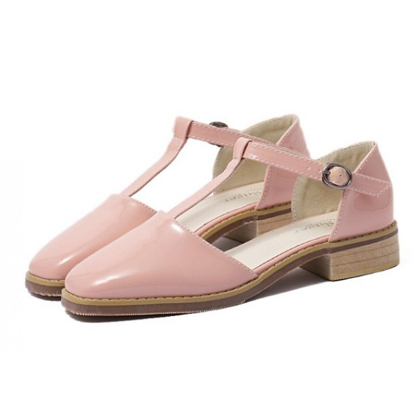 Pink Patent Point Head T Strap Mary Jane Sandals Flats Shoes