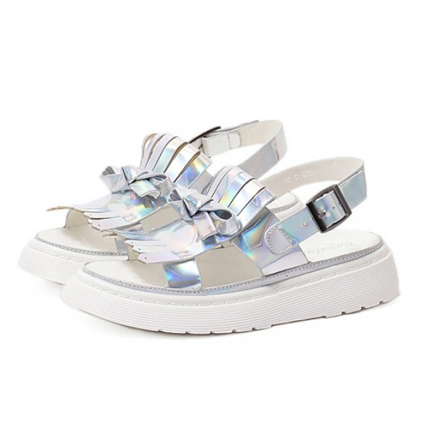 Silver Laser Holographic Tassels White Thick Platforms Sole Sandals Shoes