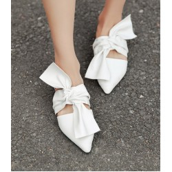 White Big Bow Point Head Loafers Flats Shoes