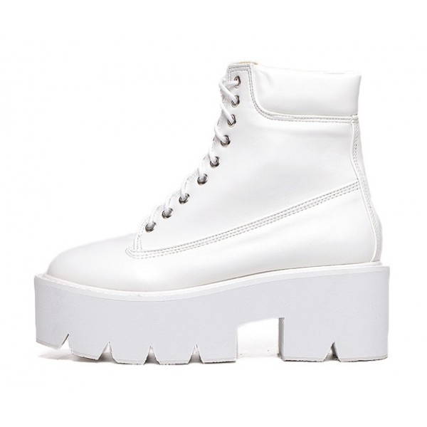 White Lace Up Chunky White Sole Block Platforms Boots Shoes
