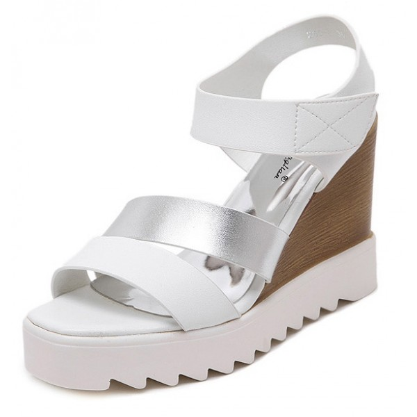 White Silver Straps Wedges Platforms Sandals Shoes