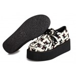 Cream Black Cats Cartoon Lace Up Platforms Creepers Oxfords Shoes