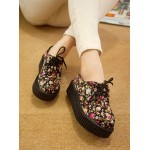 Black Vintage Roses Lace Up Platforms Creepers Oxfords Shoes