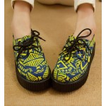 Blue Yellow Tribal Totem Pattern Lace Up Platforms Creepers Oxfords Shoes