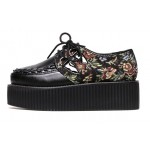 Black Vintage Flowers Retro Lace Up Platforms Creepers Oxfords Shoes