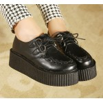 Black Stitches Classic Punk Rock Lace Up Platforms Creepers Oxfords Shoes