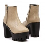 Khaki Military Ankle Chunky Sole Block High Heels Platforms Boots Shoes