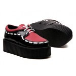 Red Black Stitches Lace Up Platforms Creepers Oxfords Shoes