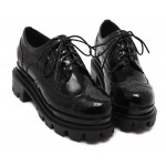 Black Patent Old School Lace Up Oxfords Platforms Creepers Shoes