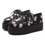 Black White Cartoon Lace Up Platforms Creepers Oxfords Shoes