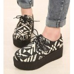 Black White Tribal Totem Pattern Lace Up Platforms Creepers Oxfords Shoes