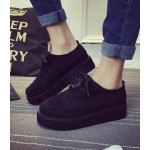 Black Suede Vintage Lace Up Platforms Creepers Oxfords Shoes