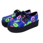 Blue Colorful Lips Mouths Lace Up Platforms Creepers Oxfords Shoes