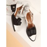 White Black Patent Leather Bow Hollow Out Lace Up Heels Women Oxfords Shoes