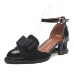 Black Patent Leather Bow Hollow Out Lace Up Heels Women Oxfords Shoes