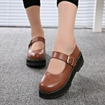 Brown Round Head Old School Mary Jane Lolita Platforms Creepers Shoes