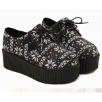 Black White Snow Flakes Lace Up Platforms Creepers Oxfords Shoes