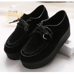 Black Velvet Suede Stitches Lace Up Platforms Creepers Oxfords Shoes